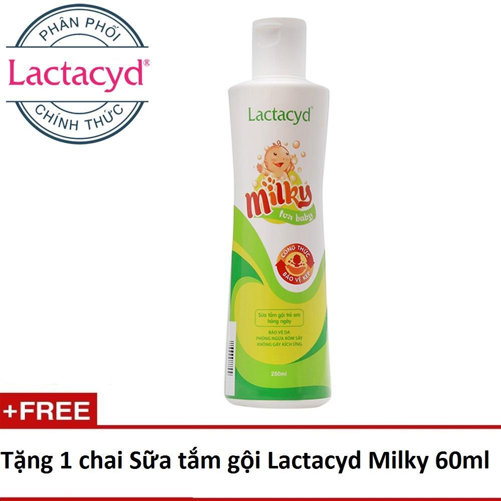 Sữa tắm gội cho bé Lactacyd Milky 250ml + tặng 1 chai Lactacyd Milky 60ml