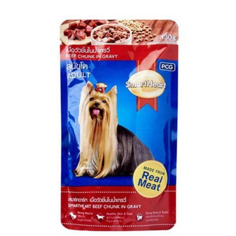 Thức ăn cho chó trưởng thành dạng sốt Smartheart vị bò nấu sốt 130g