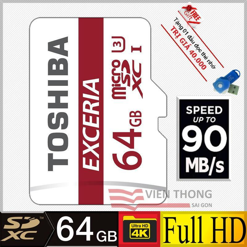 Thẻ nhớ 64gb MicroSDXC U3 90MB/ Toshiba Exceria + tặng đầu đọc thẻ micro (Mẫu ngẫu nhiên)