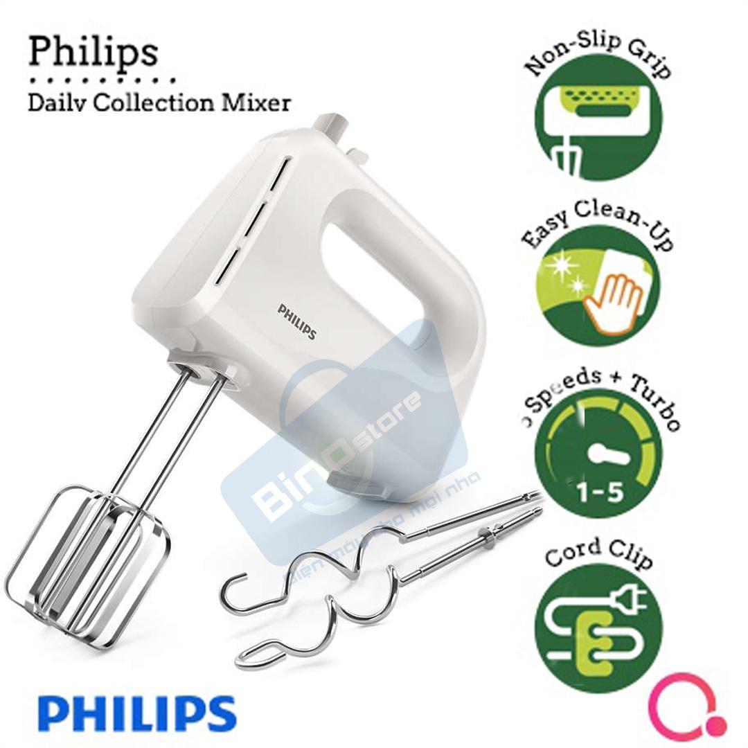 Máy đánh trứng Philips HR3705 (Xám) - Hàng công ty bảo hành 2 năm (Thay thế HR1459)+ bàn chải đánh răng