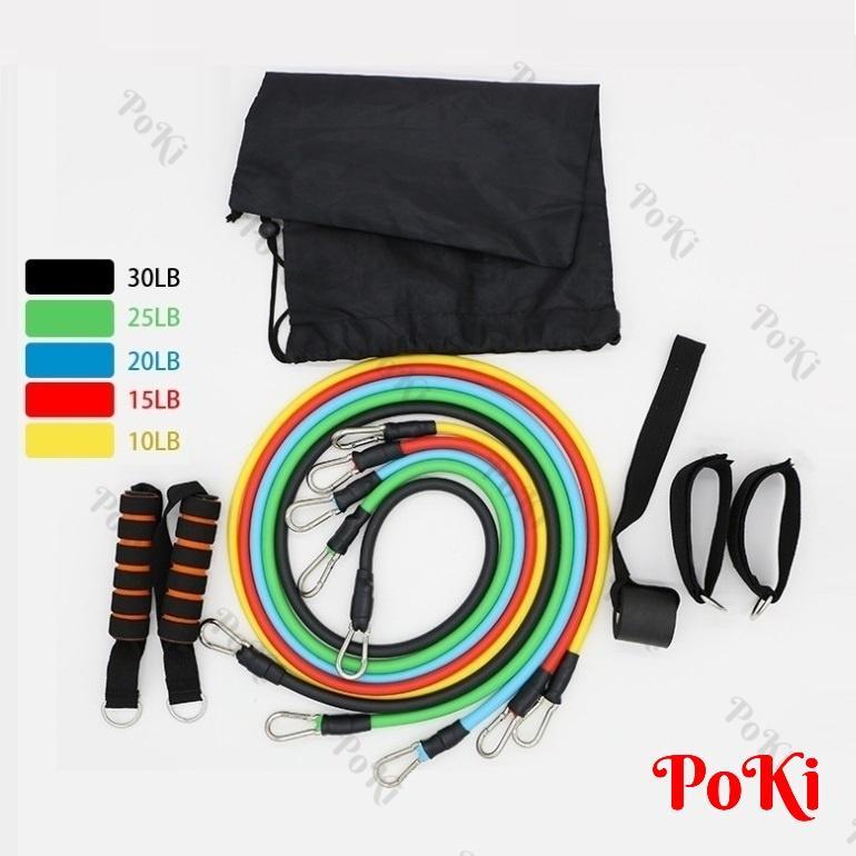 Hình ảnh Dây đàn hồi tập Gym S1-D, bộ dây tập thể lực 5 màu - Bộ 11 chi tiết, dây tập kháng lực 100LB tiêu chuẩn - POKI