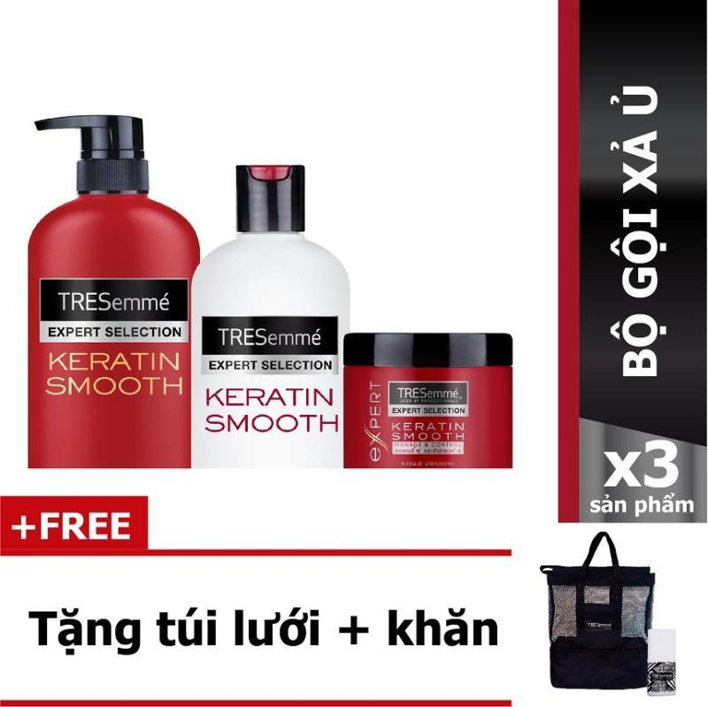 Combo Tresemme Keratin Smooth bao gồm: Dầu gội 650g + Dầu xả 340g + Kem ủ tóc 180ml + Tặng 1 bộ khăn túi lưới nhập khẩu