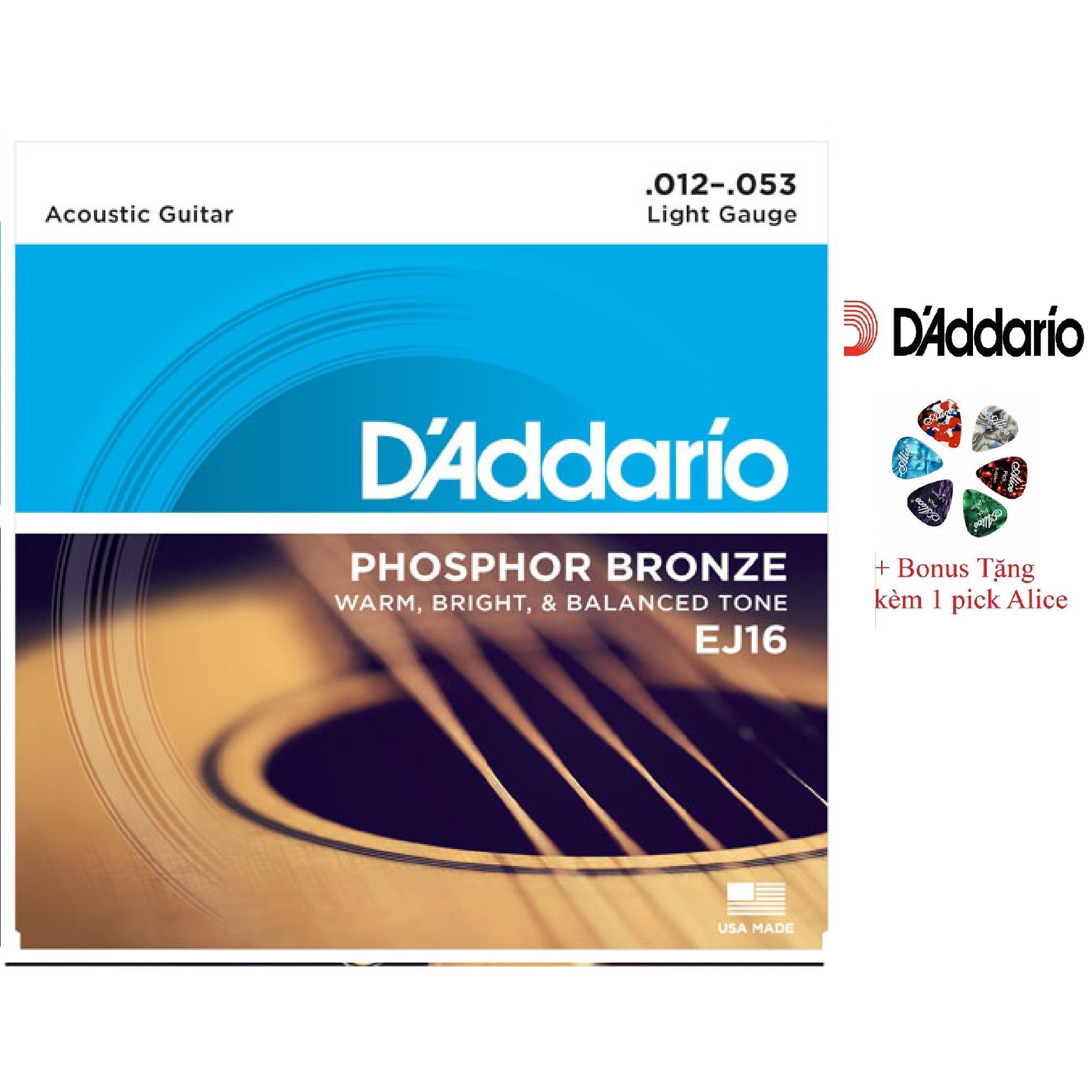 Giá Bán Bộ Hộp 6 Day Đan Guitar Acoustic D Addario Ej16 Cao Cấp Pick Alice Cỡ 12 D Addadrio Nguyên