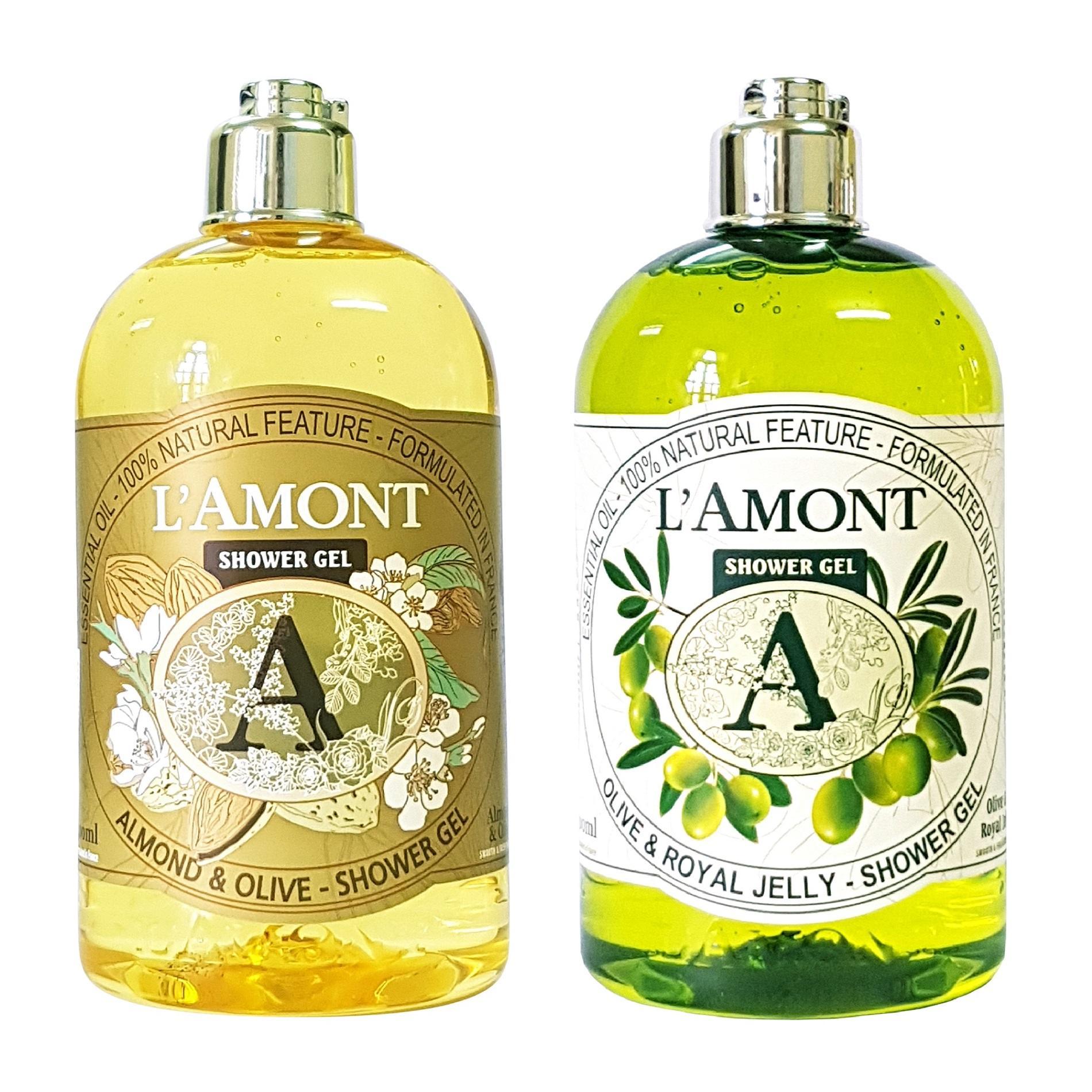 Combo Sữa Tắm Lamont En Provence Almond Blossom Shower Gel Hương hạnh nhân + Olive & Honey Shower Gel (500ml / Chai)