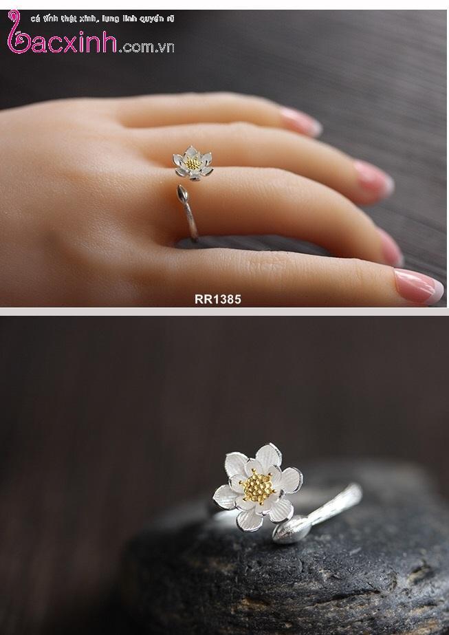 Nhẫn nữ trang sức bạc Ý S925 Bạc Xinh - Hoa sen trắng RR1385