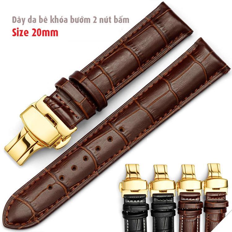 Dây da bê size 20mm khóa bướm mạ màu vàng dùng cho đồng hồ nam D1701 bán chạy