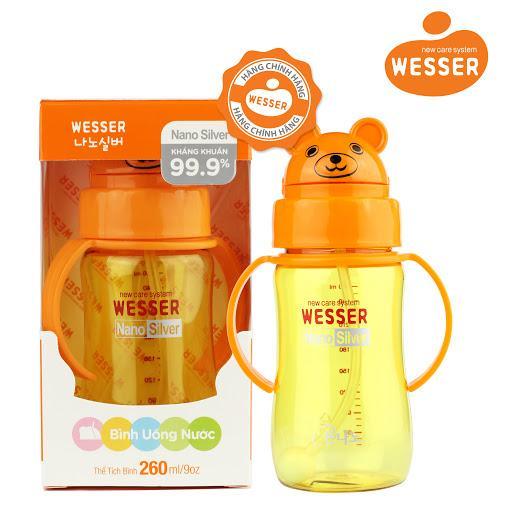 Bình nước Wesser Nano Silver 260ml ( Màu vàng)