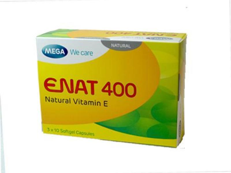 Viên uống bổ sung vitamin E ENAT 400 ( hộp 30 viên nang mềm)