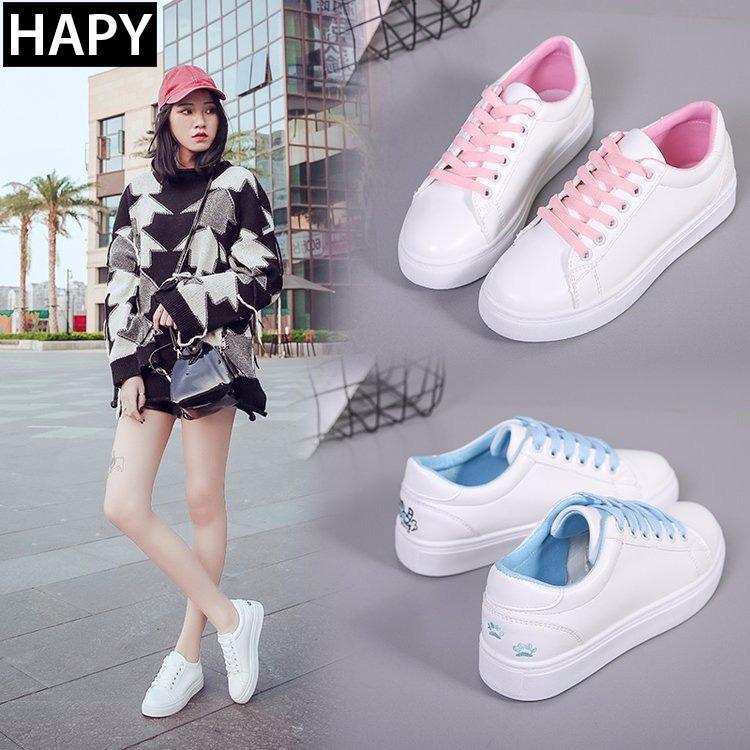 Giày sneaker nữ thêu mèo HAPU 3 mầu (trắng,hồng,,xanh)