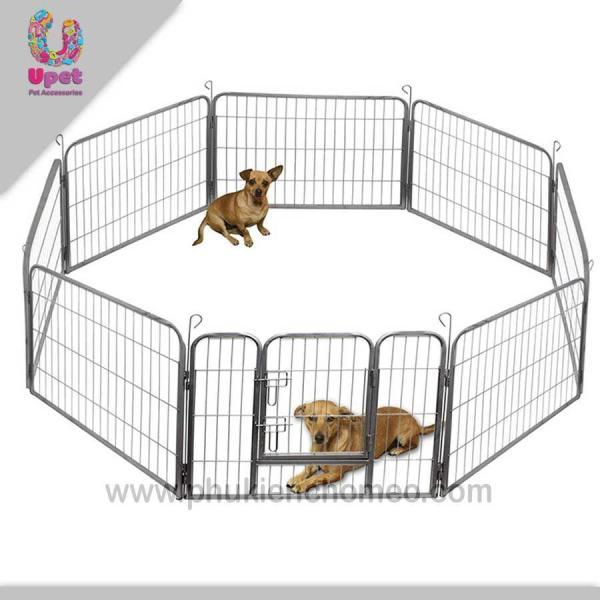 HN-SP933 - QUÂY SẮT XỊN 8 TẤM – Quây chó, hàng rào chó 8 tấm size 1 mỗi tấm 77x 61cm (hanpet 4711720)