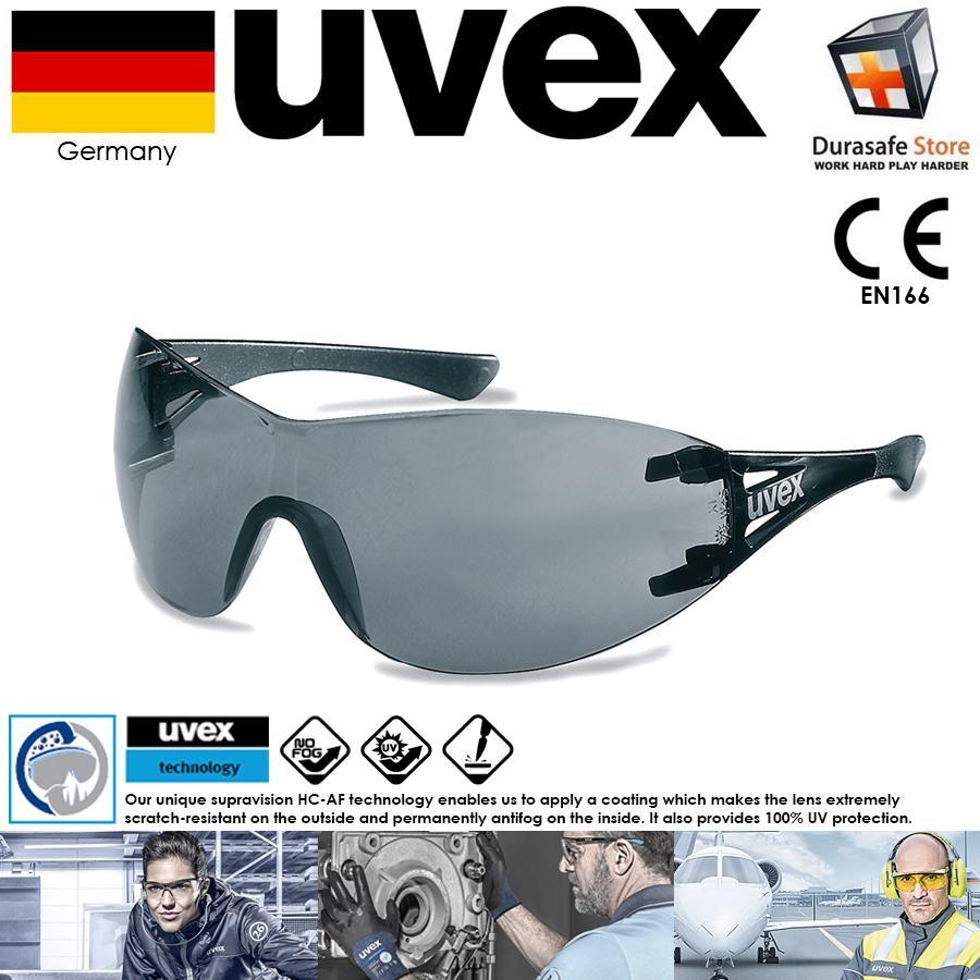 Kính UVEX 9177281 X-Trend Safety Spectacle Black Frame Grey Supravision HC-AF Len (tặng kèm hộp đựng kính)