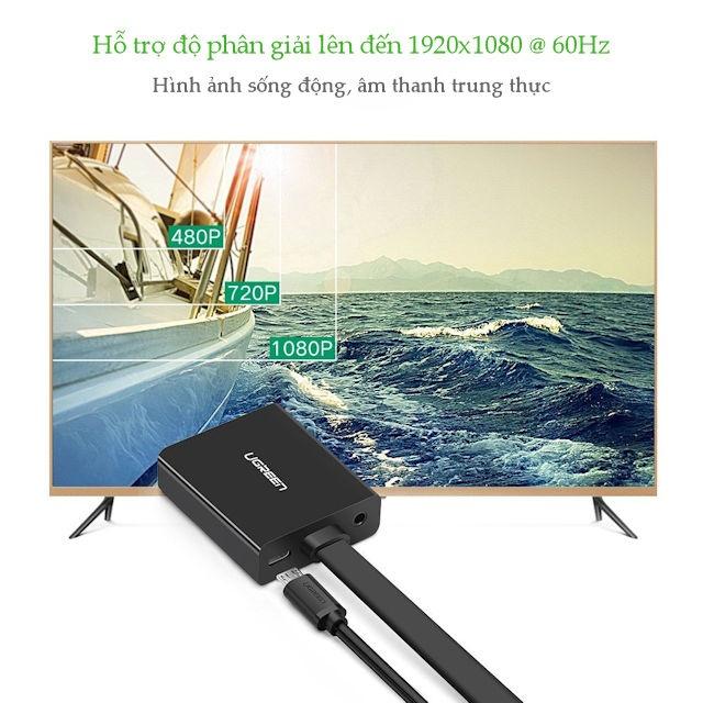 Cáp chuyển đổi HDMI sang VGA dây dẹt tích hợp cổng Audio 3.5mm + Micro USB hỗ trợ nguồn ngoài UGREEN MM103