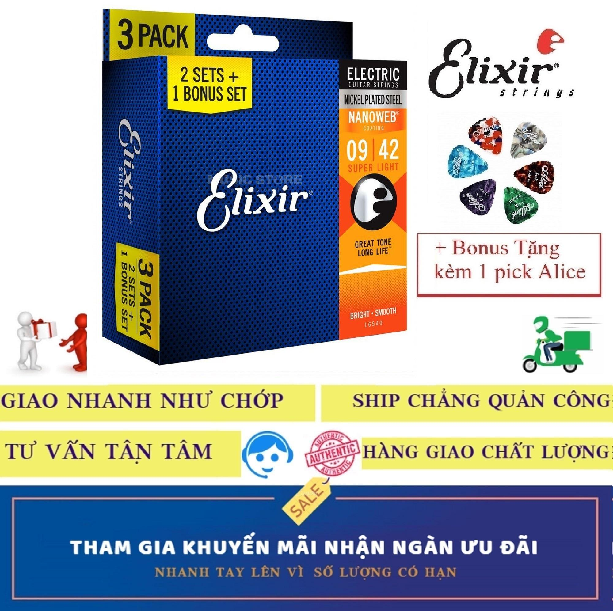 Combo Pack 3 Bộ Dây Đàn Elixir cao cấp 16540 (Cỡ 9) Electric Guitar điện Nickel Plated Steel With NANOWEB COATING Strings