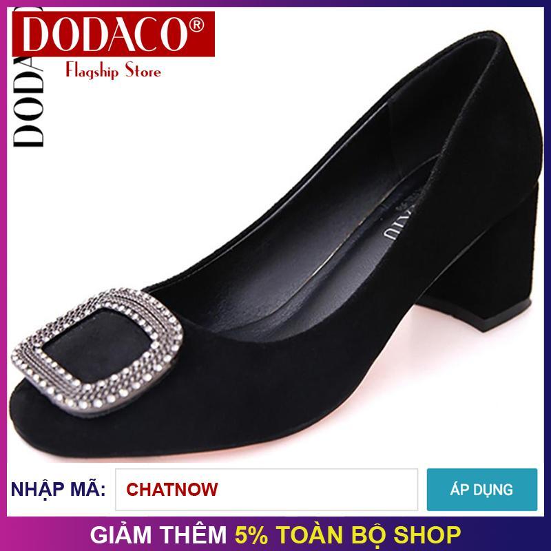 Giày cao gót giày công sở giày nữ thời trang nữ DODACO DDC2008 - S0501 (Đen Hồng Xanh Xám)