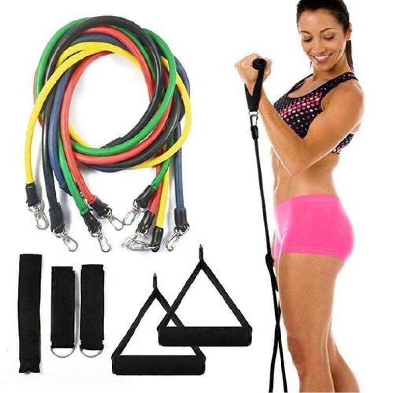 Bộ 5 dây đàn hồi tập thể hình cao cấp - dụng cụ tập gym - thể thao
