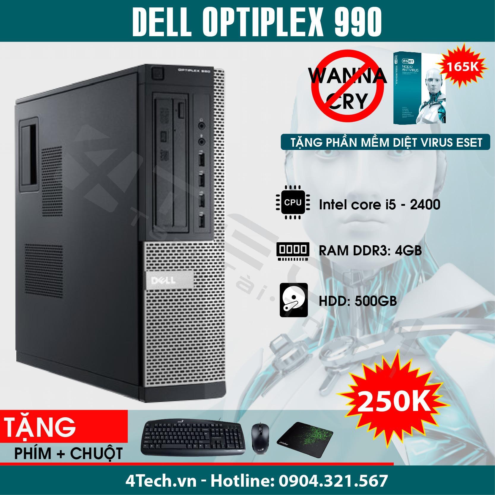 Máy Tính Đồng Bộ Dell Optiplex 990 Intel Core i5-2400, Ram 4GB, HDD 500GB - Mua 1 Tặng 10.