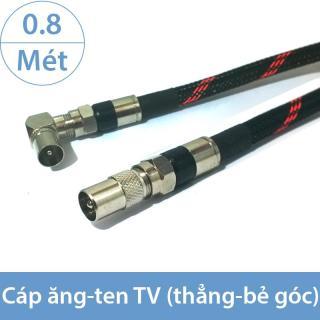 Dây tín hiệu Angten TV 1 đầu thẳng 1 đầu bẻ góc, đầu DVB vào TV - Chống nhiễu từ trường EMI 0.8 mét (màu đen - bọc lưới) thumbnail