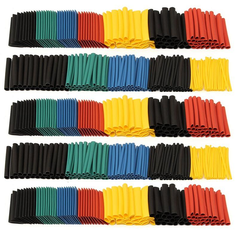 280Pcs 5 Colors 8 Size Polyolefin 2:1 Halogen-Free Heat Shrink Tubing Tube Assortment Sleeving Tubes Wrap for Wrap Set Kits