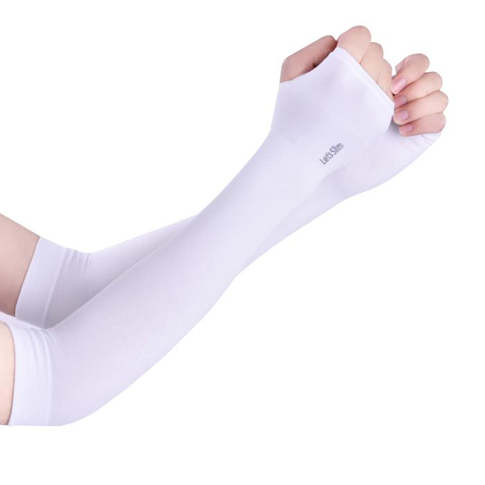 Găng tay chống nắng xỏ ngón Aqua-X Lets Slim (Trắng)
