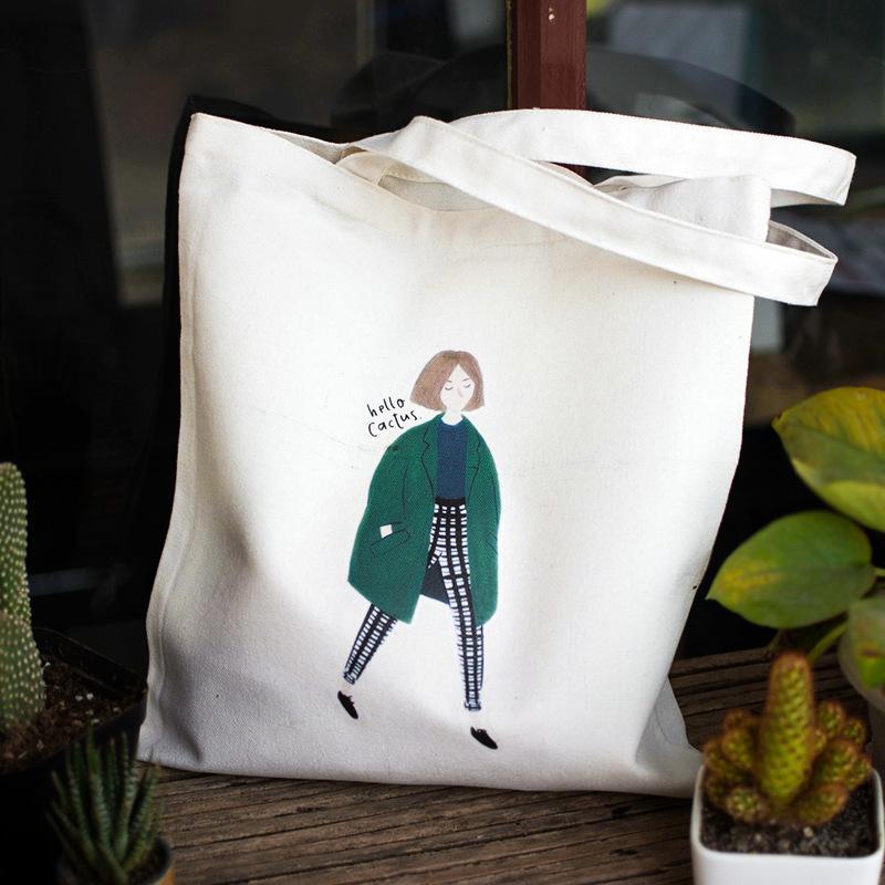 Túi Tote Ulzzang vải bố vải canvas hình cô gái năng động