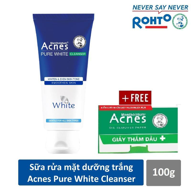 Sữa rửa mặt dưỡng trắng và ngăn ngừa mụn Acnes Pure White 100g + Tặng Giấy thấm dầu Acnes 50 tờ nhập khẩu