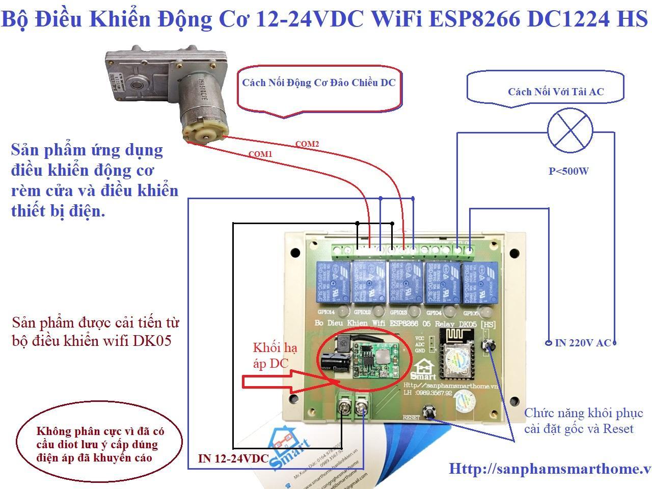 Bộ Điều Khiển Động Cơ 12-24VDC WiFi ESP8266