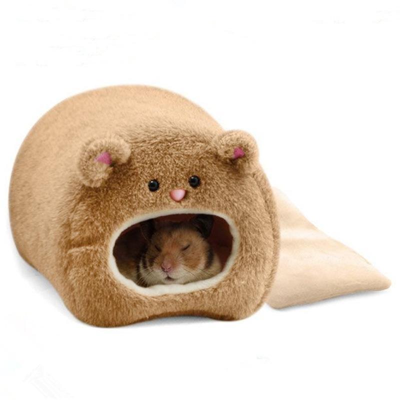 SYD # Hamster Mùa Đông Ấm Lồng Hình Gấu Lông Cừu Nhà có Giường Ngủ cho Thú Cưng Nhỏ