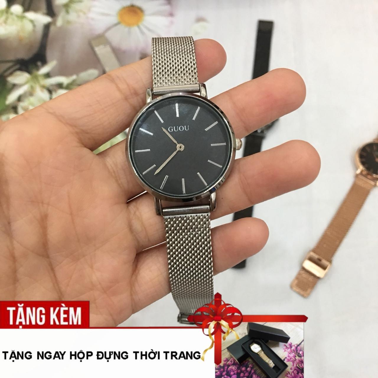 [RẺ ĐỪNG HỎI- TẶNG KÈM HỘP CAO CÂP] Đồng hồ nữ GUOU 2 kim chạy dây thép nhuyễn sang trọng G43-61 bán chạy