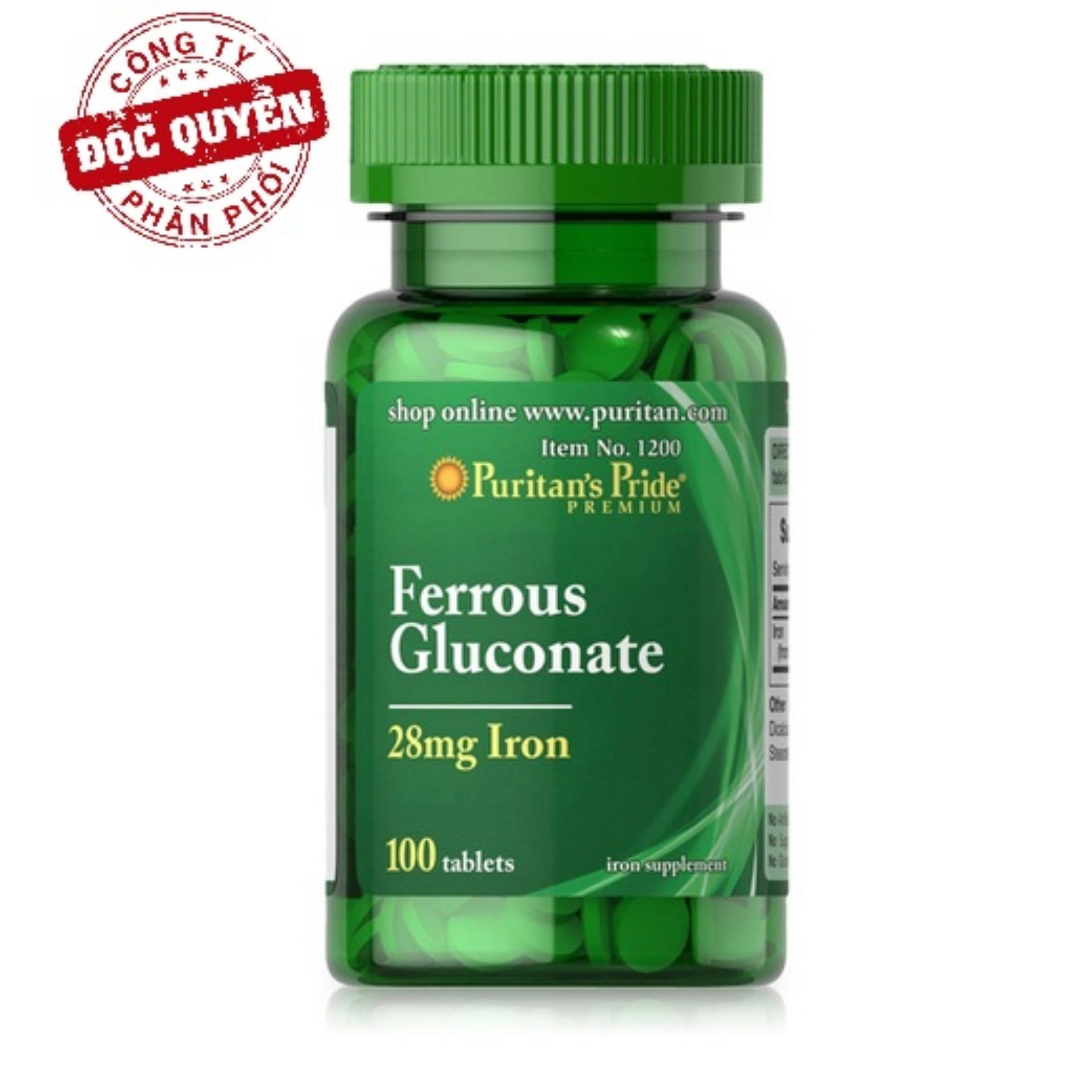 Viên uống bổ sung sắt giúp bổ máu, phòng ngừa thiếu máu Puritan's Pride Ferrous Gluconate 28mg Iron 100 viên HSD: 3/2020