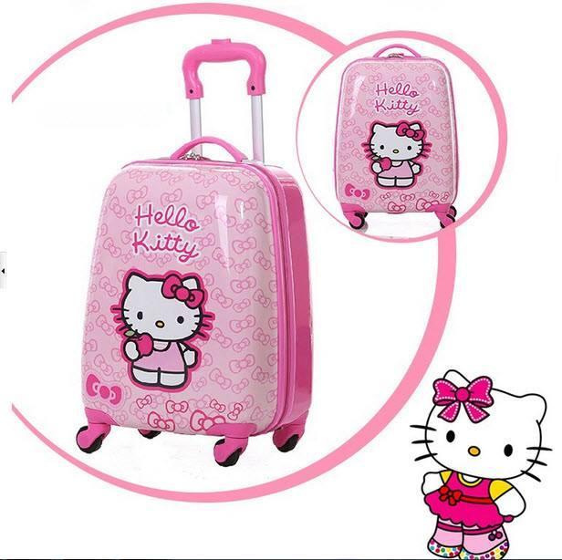 Vali kéo helokitty cho bé gái tặng kèm thẻ hành lý siêu kute