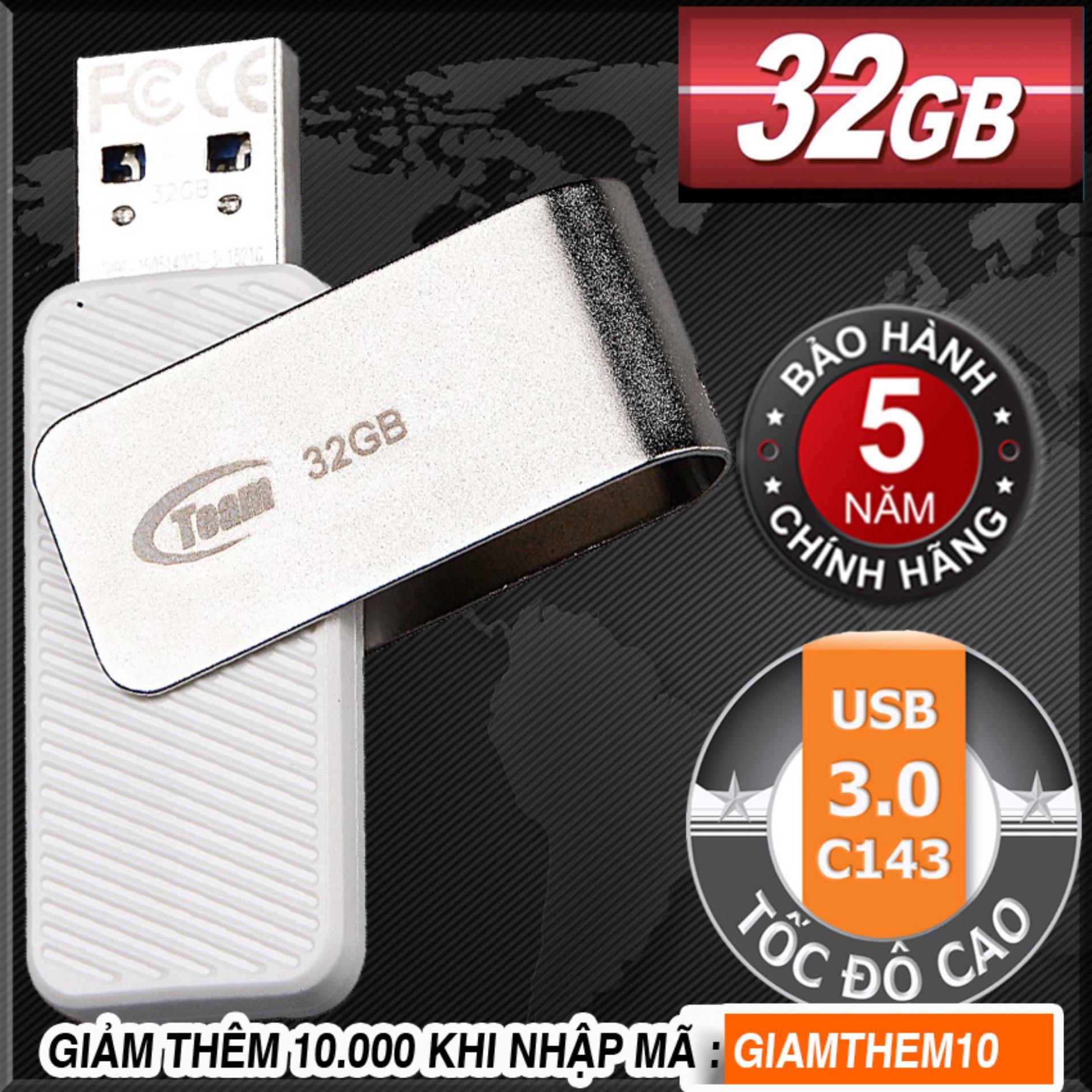 USB 3.0 32GB Team Group INC C143 (Trắng) Tốc độ cao - Hãng phân phối chính thức