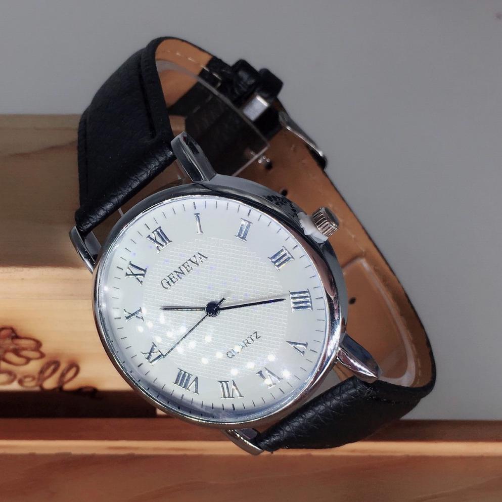 Hình ảnh Đồng hồ nam dây da Geneva số la mã kim xanh ( Trắng)