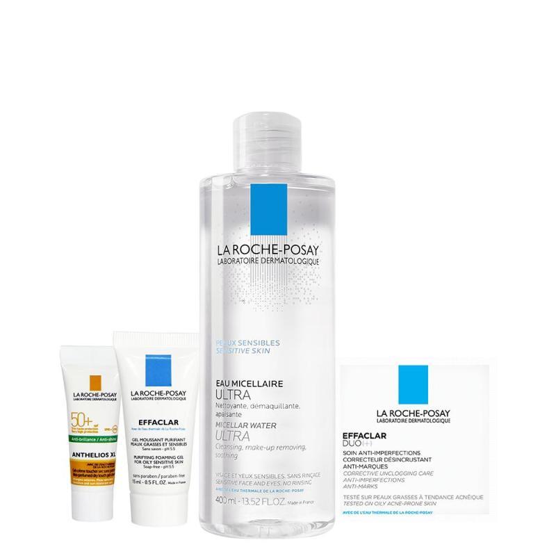 Bộ sản phẩm nước tẩy trang làm sạch sâu giàu khoáng dành cho da nhạy cảm La Roche Posay Micellar Water Ultra Sensitive Skin 400ML
