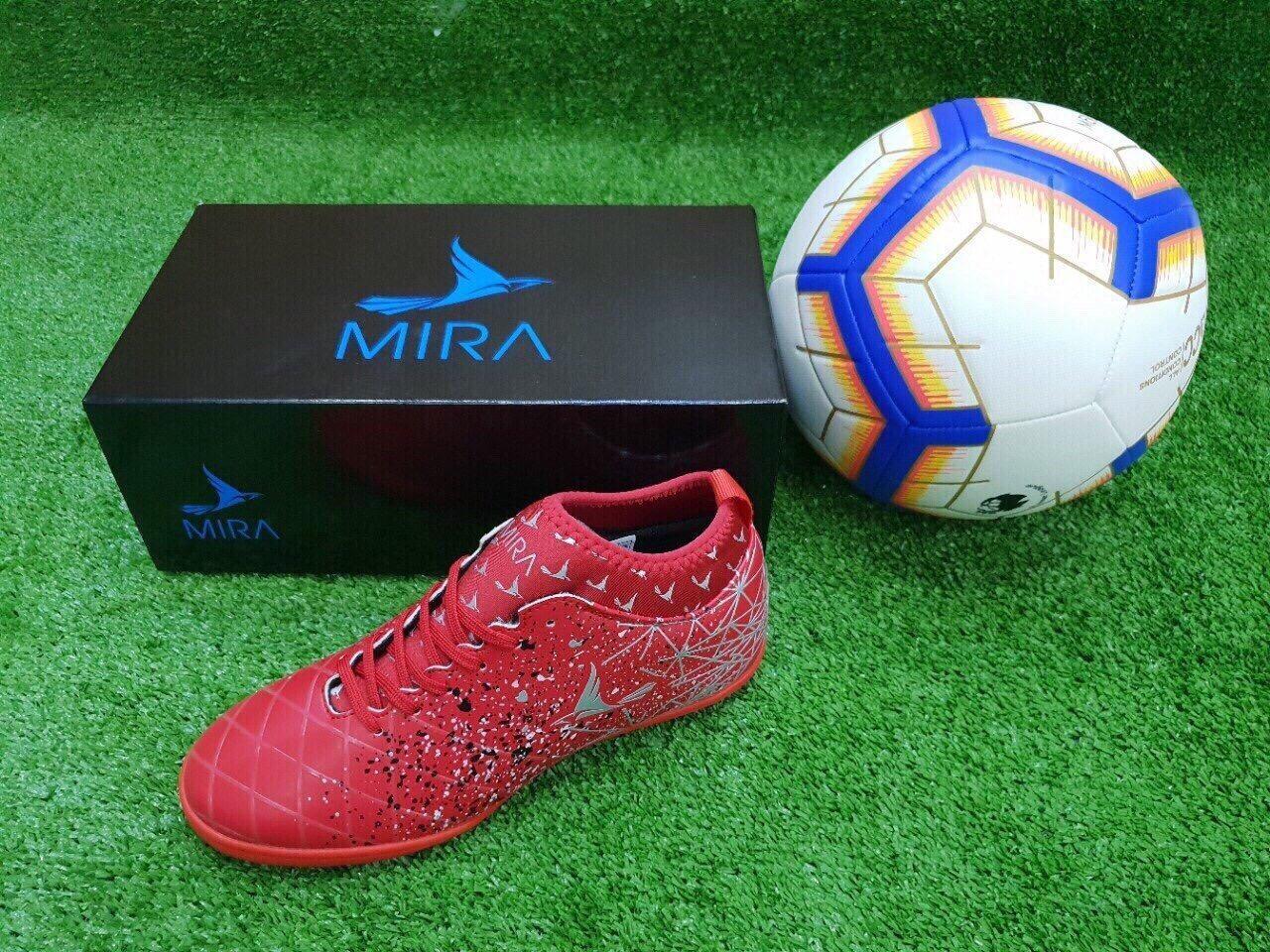 Giầy bóng đá sân cỏ nhân tạo MIRA 03 màu đỏ khâu full đế Nhật Bản