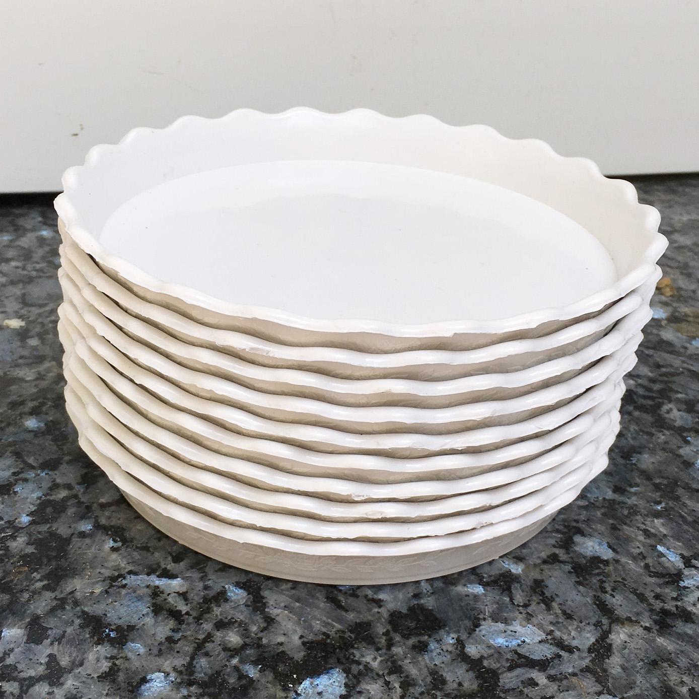 Bộ 10 đĩa lót chậu màu trắng đường kính 18cm