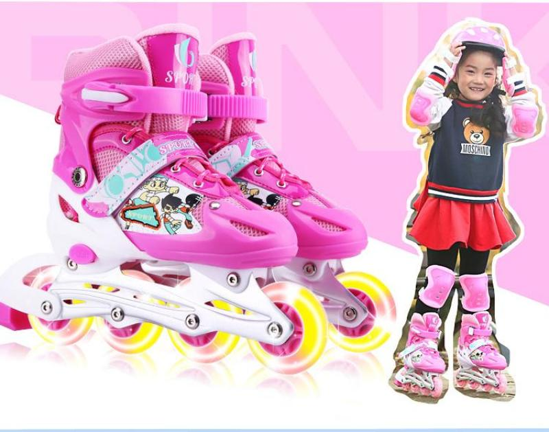 Phân phối Giày trượt Patin Sports có đèn flash, tặng kèm bảo hộ tay và đầu gối