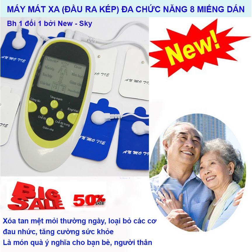Mieng Dan May Matxa Xung Dien, Máy Massage Trị Liệu 8 Miếng Dán Đầu Ra Kép Đa Chức Năng NSK-422 Cao Cấp, Trị Liệu An Toàn - Hiệu Quả - Bh Uy Tín 1 Đổi 1 Bởi New - Sky chính hãng