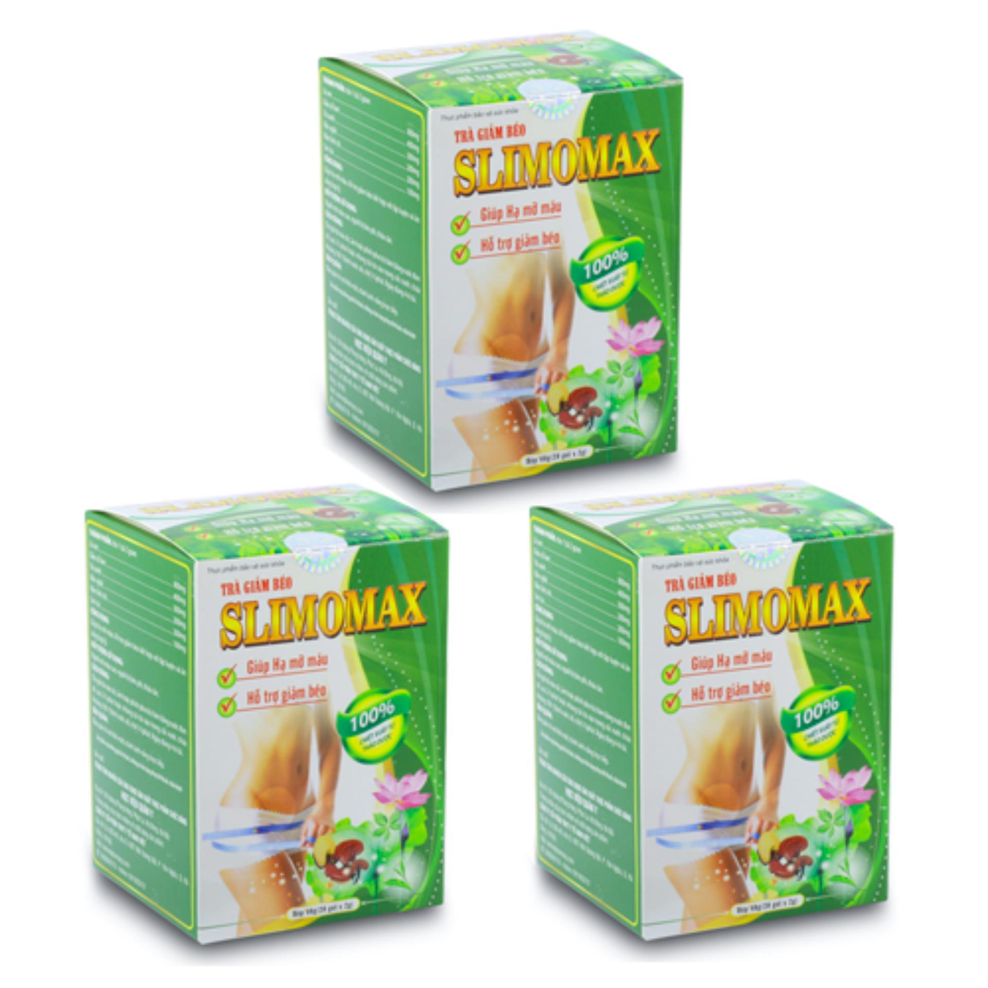 Bộ 3 hộp trà giảm béo Học Viện Quân Y Slimomax (20 túi x 3) chính hãng
