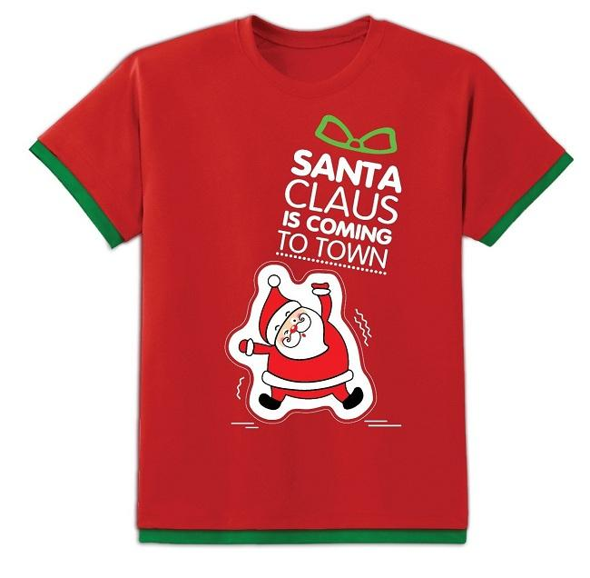 Áo đèn tay ngắn - Trẻ em - Ông già Noel ôm túi quà - Màu đỏ - NE16-KD02