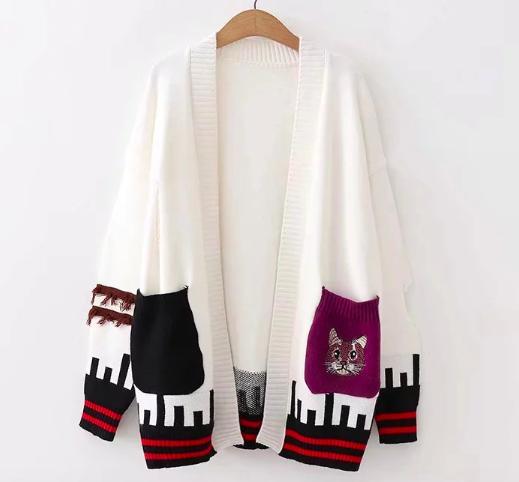 Áo khoác len nữ tay dài thêu hình mèo túi áo LTTA2279 (Trắng) BEAUTYSALES