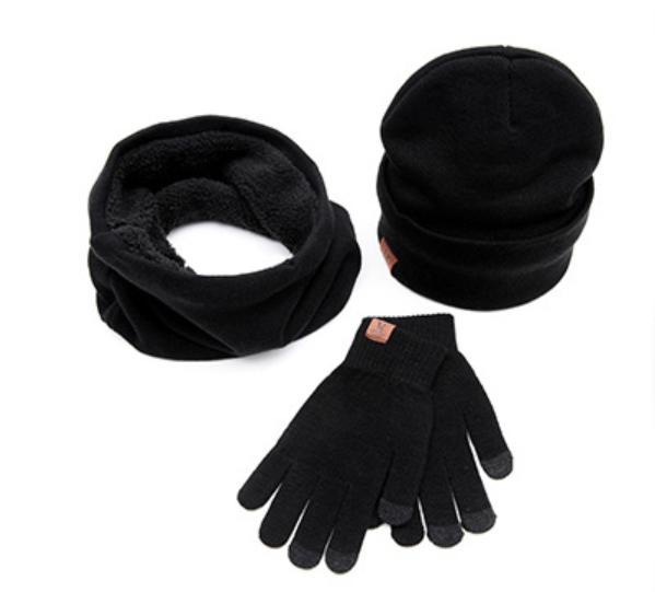 Hình ảnh Bộ găng tay cảm ứng mũ len và khăn cổ lọ nam ấm áp tiện dụng cho mùa đông New 2020