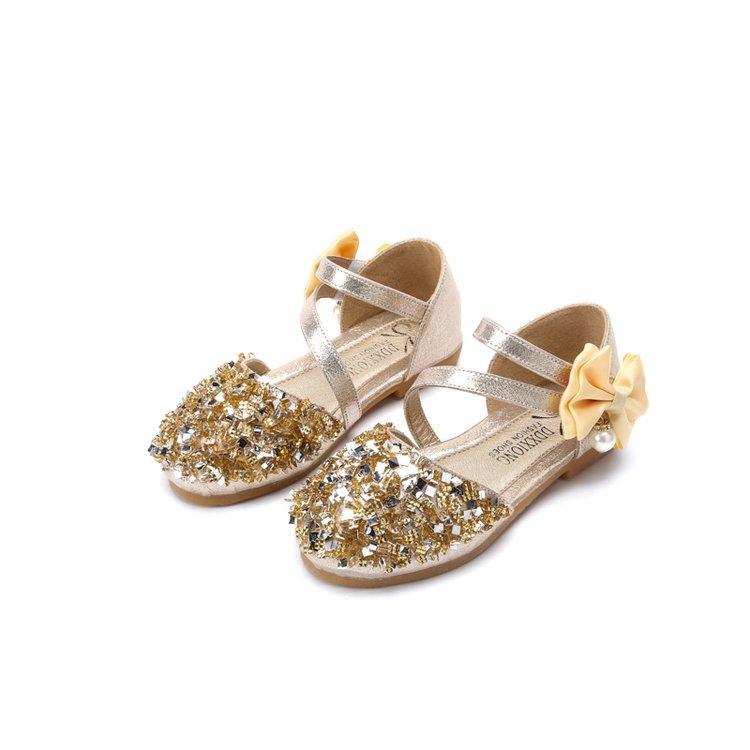 Giá bán 2019 Mùa Xuân Thu 1-3-5-7-9 Tuổi Cô Gái Kim Cương Giày Da 2 Bé 6 Bé Gái Đế Mềm Giày Công Chúa 4 Giày