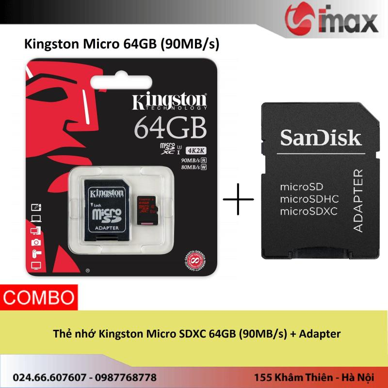 Thẻ nhớ Kingston Micro SDXC 64GB (90MB/s) + Adapter