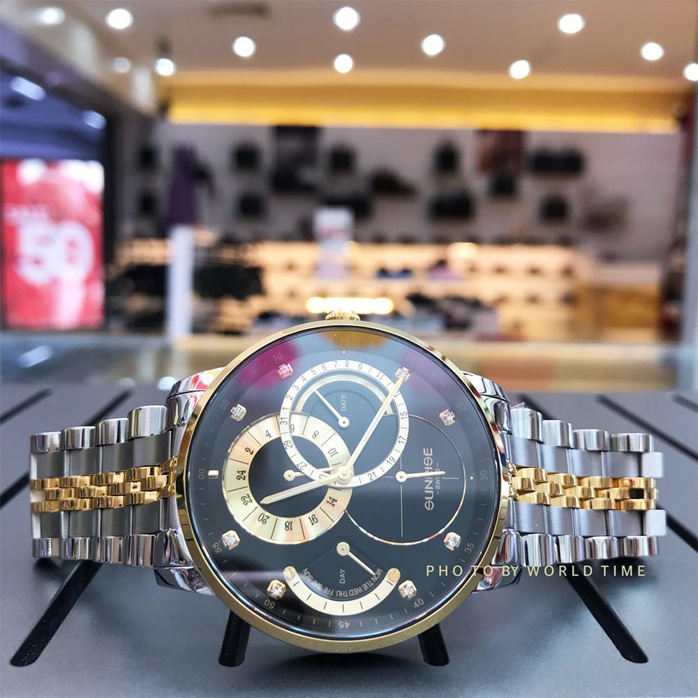 Đồng hồ Nam Sunrise 1146SA Black Full hộp , túi , thẻ bảo hành hãng , Sapphire chống xước , chống nước bán chạy