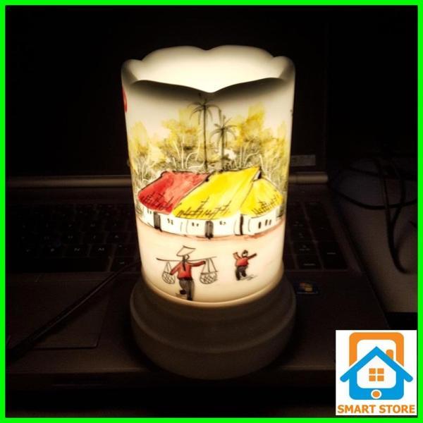 Đèn xông tinh dầu sứ Bát Tràng hình Ống cỡ TO 9 x 16,5cm / Đuổi muỗi Diệt muỗi Đèn trang trí SS40