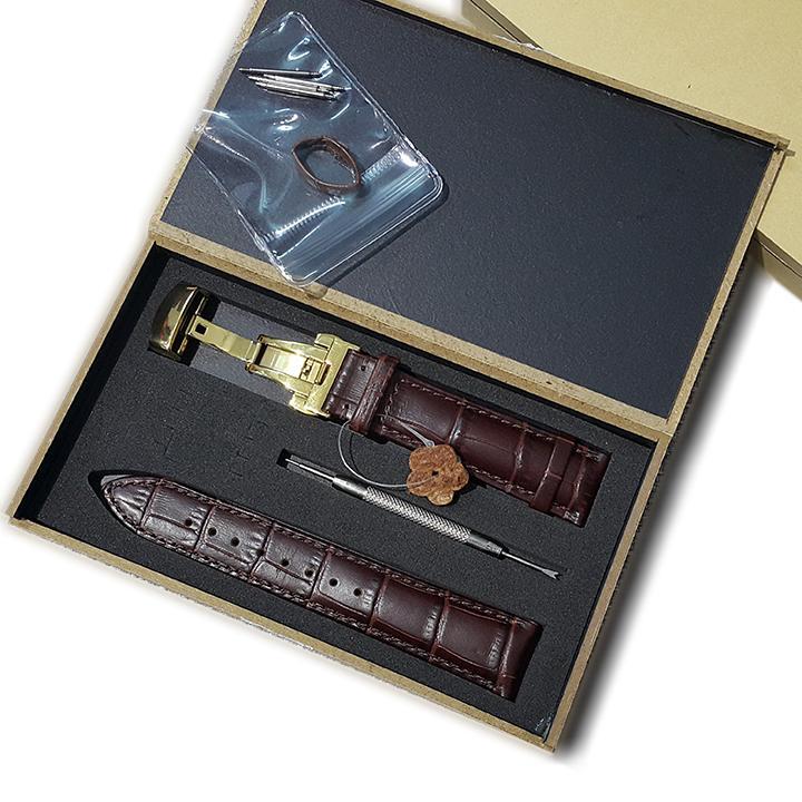 Dây đồng hồ da bò size 22mm, dây đồng hồ da bò vân cá sấu kèm phụ kiện D1809 bán chạy
