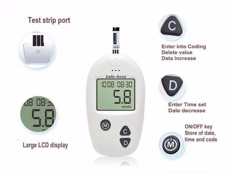 Máy đo đường huyết Sinocare Safe Accu tặng 25 que thử và 25 kim chích máu nhập khẩu