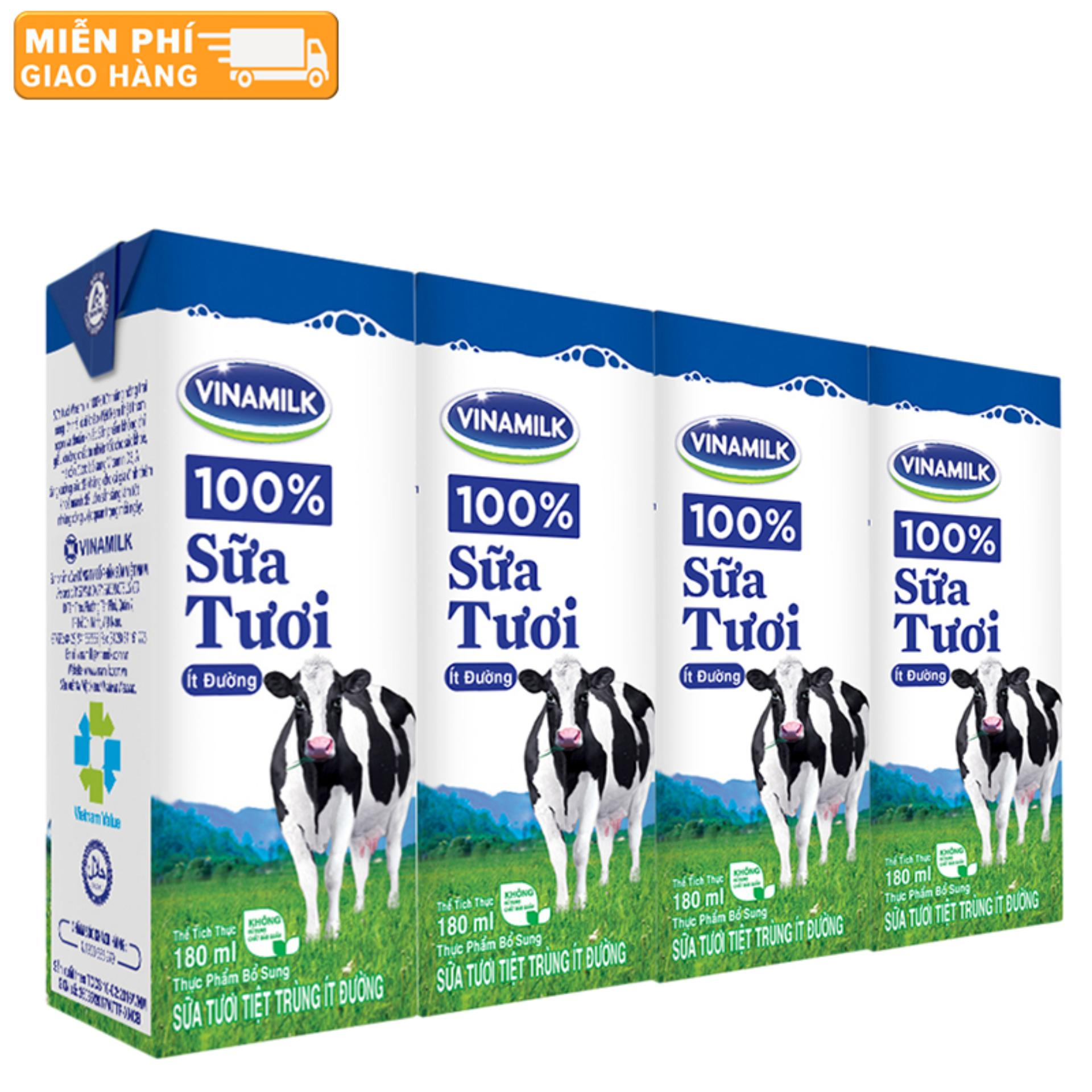 Thùng 48 Hộp Sữa tươi tiệt trùng Vinamilk 100% Ít Đường 180ml