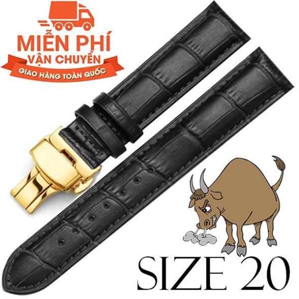 Dây đồng hồ da bò cao cấp SIZE 20mm (đen) kèm khóa bướm thép không gỉ 316L (vàng) bán chạy