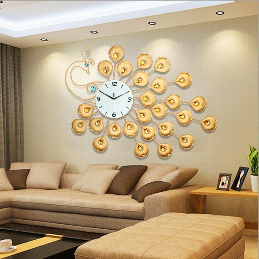 Nơi bán Đồng hồ treo tường mạ giả vàng đính đá cao cấp hình công 60x90cm (BQ239)